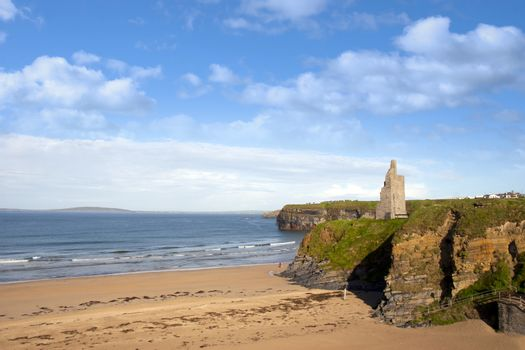 view of the castle beach and cliffs in Ballybunion county Kerry Ireland