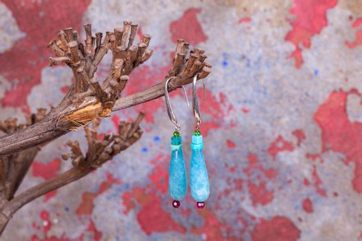 Close up of chalcedony earrings, manufactured by Ornella Salamone