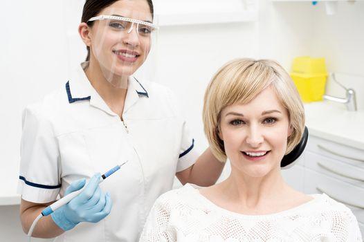 Woman ready for a dental exam