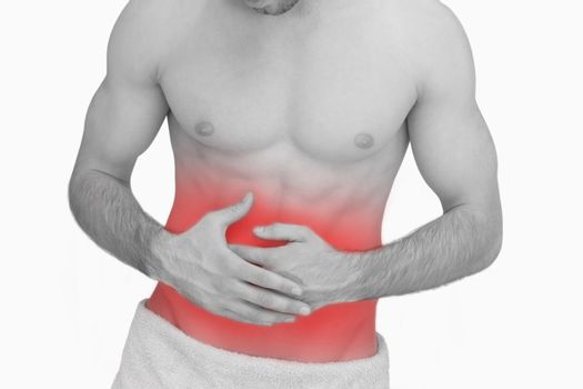 Midsection of man with stomach ache