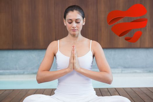 Peaceful woman in white sitting in lotus pose against heart