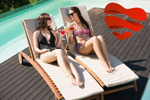 Women holding drinks by swimming pool against heart
