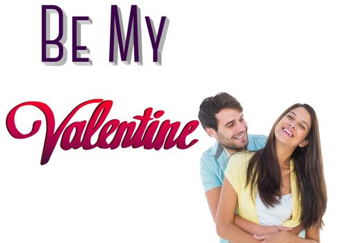 Happy casual couple smiling and hugging against be my valentine