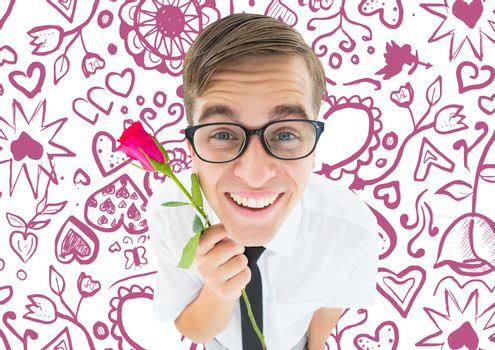 Romantic geeky hipster against valentines pattern