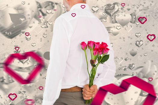 Man holding bouquet of roses behind back against grey valentines heart pattern