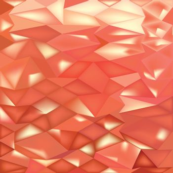 Low polygon style illustration of orange crystals abstract background.