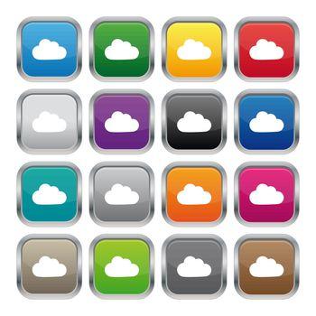 Cloud metallic square buttons