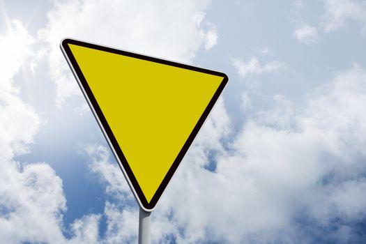 Composite image of hazard triangle