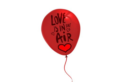 love is in the air against red  balloon