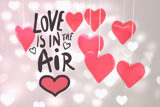 love is in the air against valentines heart design