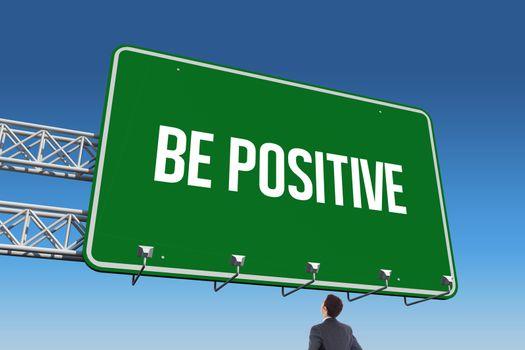 Be positive against blue sky