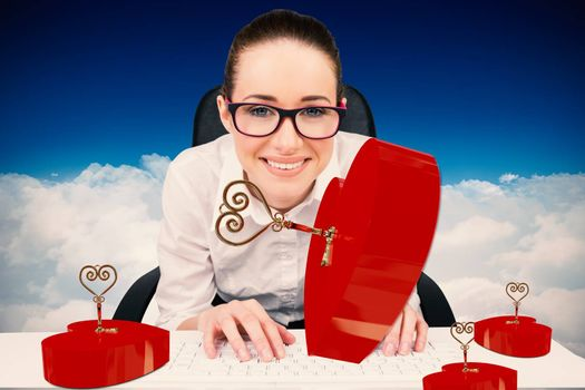 Businesswoman typing on a keyboard against bright blue sky over clouds
