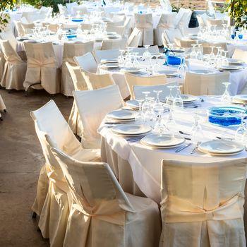 Table set at wedding reception