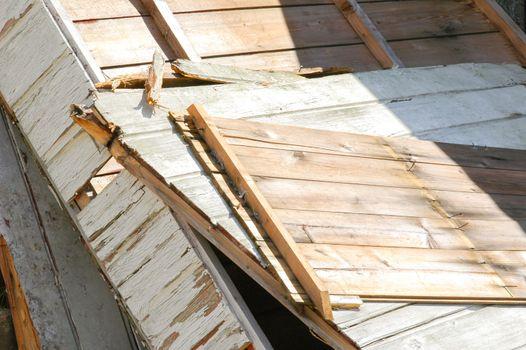 broken wood panels