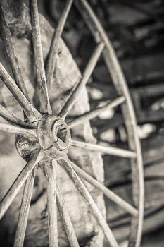 vintage cart wheel