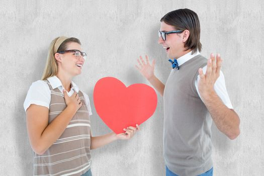 Happy geeky hipster and her boyfriend against white background