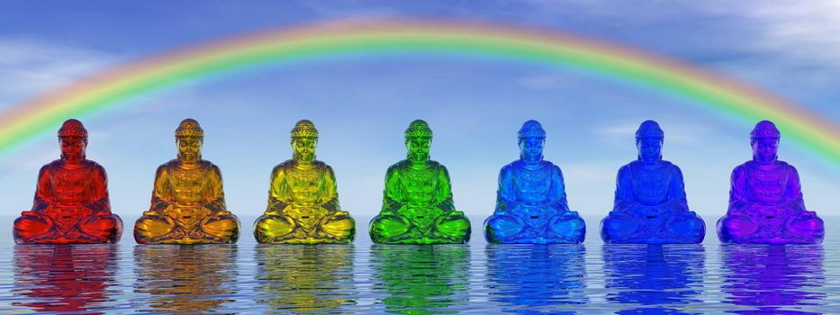 Seven small buddhas in chakra colors meditating under rainbow and upon water by day - 3D render