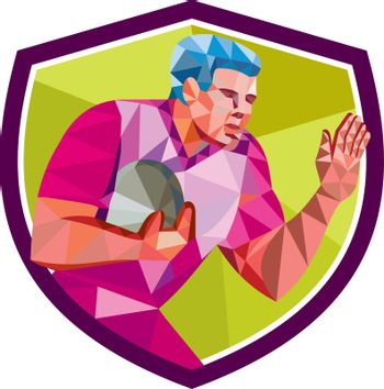 Rugby Player Fend Off Low Polygon