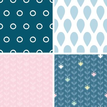 Vector blloming vines stripes set of four marching repeat patterns backgrounds graphic design