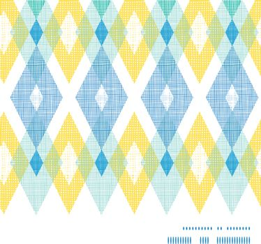 Vector colorful fabric ikat diamond horizontal frame seamless pattern background graphic design