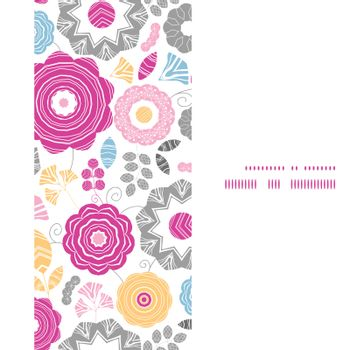Vector vibrant floral scaterred vertical frame seamless pattern background graphic design