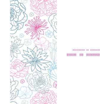 Vector gray and pink lineart florals vertical frame seamless pattern background graphic design