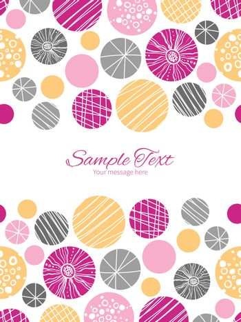 Vector abstract textured bubbles vertical double borders frame invitation template graphic design