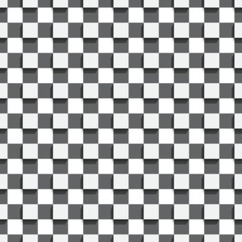 Seamless geometric background. Modern monochrome 3D texture. Pattern with realistic shadow and cut out of paper effect.Geometrical pattern with white and black squares.