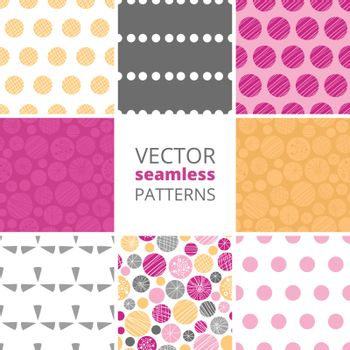 Vector abstract textured bubbles set of eight matching repeating seamless patterns backgrounds graphic design
