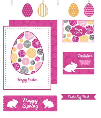 Vector abstract textured bubbles set of Easter cards, labels, tags and banners templates graphic design