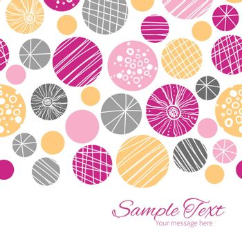 Vector abstract textured bubbles horizontal border card template graphic design
