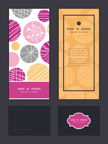 Vector abstract textured bubbles vertical frame pattern invitation greeting, RSVP and thank you cards set graphic design