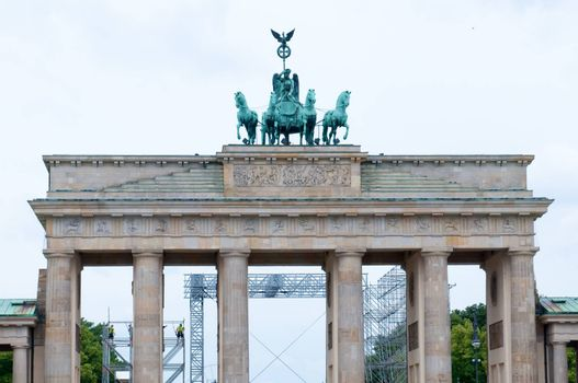 The Brandenburg Gate  is an 18 century neoclassical triumphal arch in Berlin