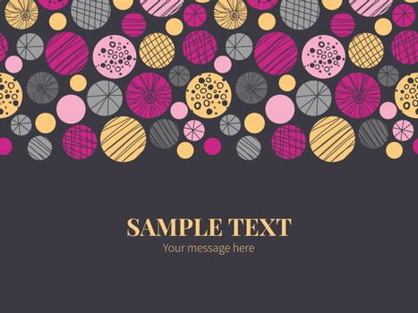 Vector abstract textured bubbles horizontal border greeting card invitation template graphic design