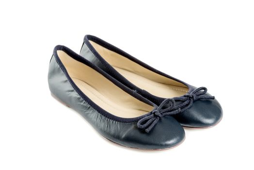Pair of female shoes over white background left side view