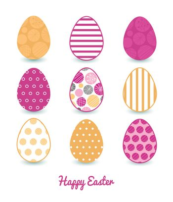 Vector abstract textured bubbles set of nine colorful Easter eggs card template graphic design
