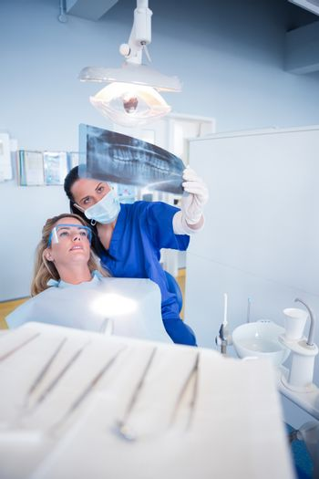 Dentist explaining x-ray to patient at the dental clinic