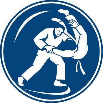Judo Combatants Throw Circle Icon