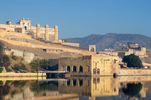 Amber fort reflection over the lake, Jaipur