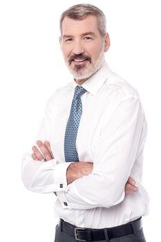 Confident senior male executive