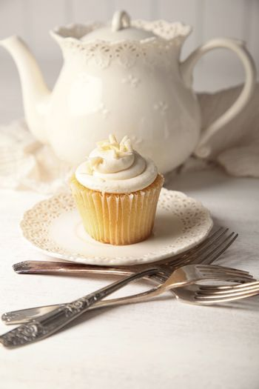 Vanilla cupcake ready to eat