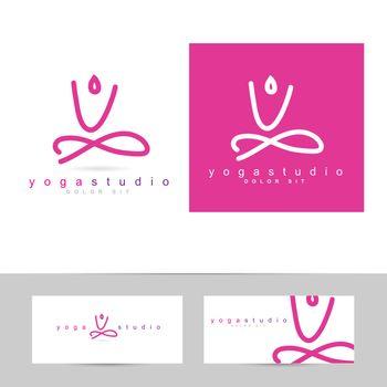 Vector logo template of an abstract yoga pose icon