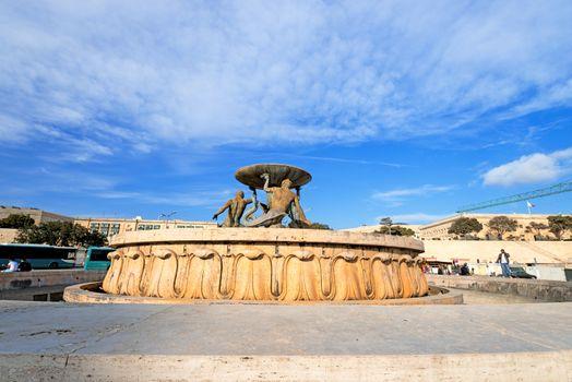 The Triton Fountain in the City Gate Square of Valletta