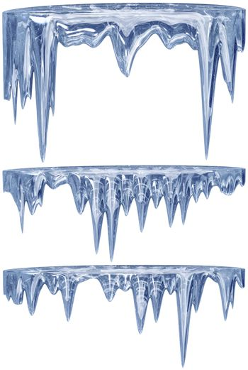 set of hanging thawing and melting blue dripping icicles, as a shiny crystal glass, with crisp spikes in icy winter season time from freezer make around arctic frost with icing on the scene