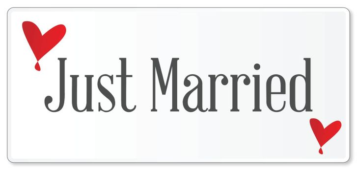 A just married plaque in white over a white background with love cartoon hearts