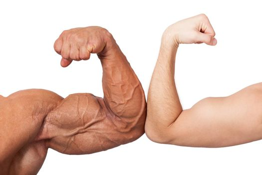 Bodybuilder and normal biceps isolated on white background. Bodybuilding, sports and fitness concept.