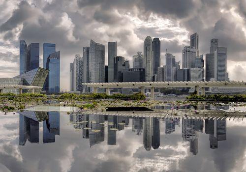 Reflections and clouds at marina bay, Singapore
