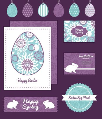 Vector purple and blue floral abstract set of Easter cards, labels, tags and banners templates graphic design