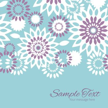 Vector purple and blue floral abstract horizontal border card template graphic design