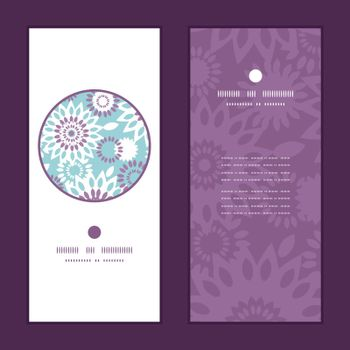 Vector purple and blue floral abstract vertical round frame pattern invitation greeting cards set graphic design